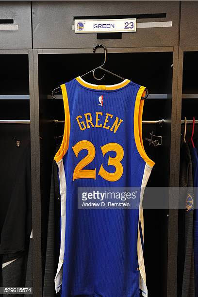The jersey of Draymond Green of the Golden State Warriors in the locker room before the game against the Portland Trail Blazers in Game Three of the...