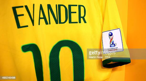 The jersey of Evander is seen before the FIFA U17 Men's World Cup 2015 quarter final match between Brazil and Nigeria at Estadio Sausalito on...