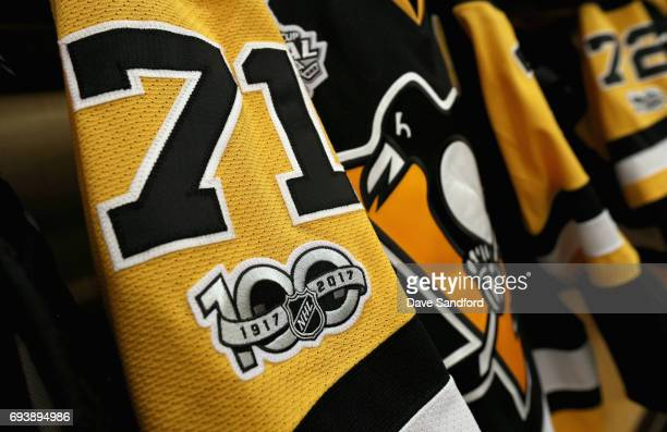 The jersey of Evgeni Malkin of the Pittsburgh Penguins is seen hanging in the locker room before Game Five of the 2017 NHL Stanley Cup Final between...