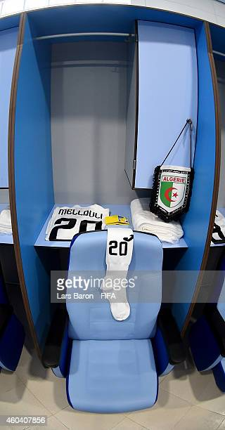The jersey of Farid Mellouli of ES Setif is seen in the locker room prior to the FIFA Club World Cup Quarter Final match between ES Setifienne and...