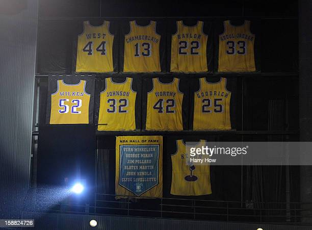 The jersey of Jamaal Wilkes of the Los Angeles Lakers is unveiled as it is retired during a ceremony at Staples Center on December 28 2012 in Los...
