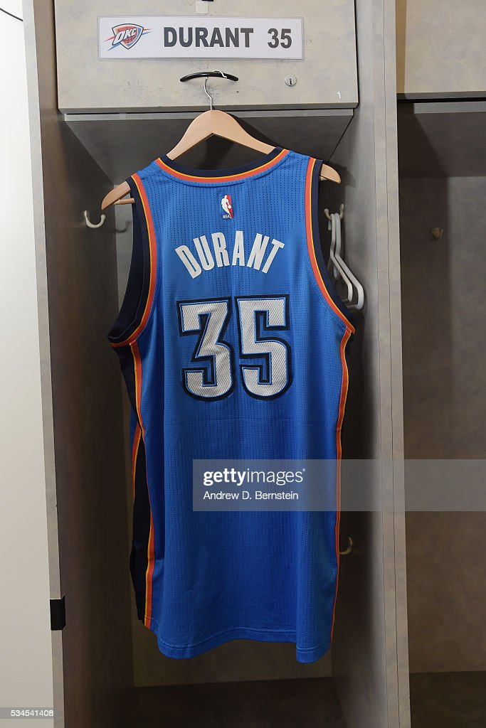 The jersey of <a gi-track='captionPersonalityLinkClicked' href=/galleries/search?phrase=Kevin+Durant&family=editorial&specificpeople=3847329 ng-click='$event.stopPropagation()'>Kevin Durant</a> #35 of the Oklahoma City Thunder in the locker room before Game Five of the Western Conference Finals against the Golden State Warriors during the 2016 NBA Playoffs on May 26, 2016 at ORACLE Arena in Oakland, California.
