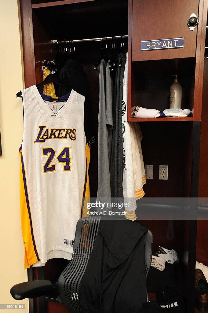 The jersey of Kobe Bryant #24 of the Los Angeles Lakers displayed in his locker before the game against the Indiana Pacers on November 29, 2015 at STAPLES Center in Los Angeles, California.