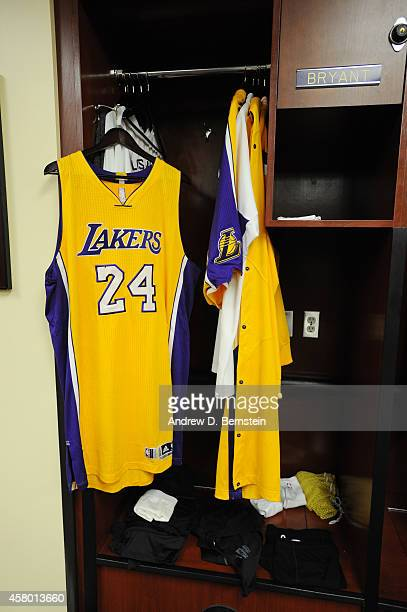 The jersey of Kobe Bryant of the Los Angeles Lakers hangs before a game against the Houston Rockets on October 28 2014 at the Staples Center in Los...