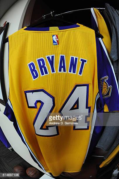 The jersey of Kobe Bryant of the Los Angeles Lakers is seen before the game against the Cleveland Cavaliers on March 10 2016 at STAPLES Center in Los...