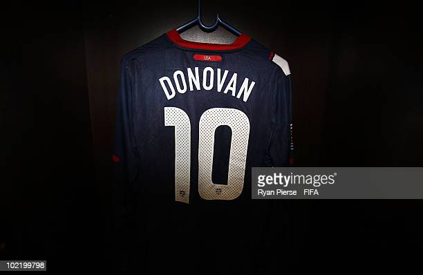 The jersey of Landon Donovan of the United States hangs in the dressing room prior to the 2010 FIFA World Cup South Africa Group C match between...