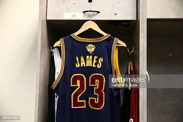 The jersey of LeBron James of the Cleveland Cavaliers in the locker room before Game One of the 2016 NBA Finals against the Golden State Warriors on...