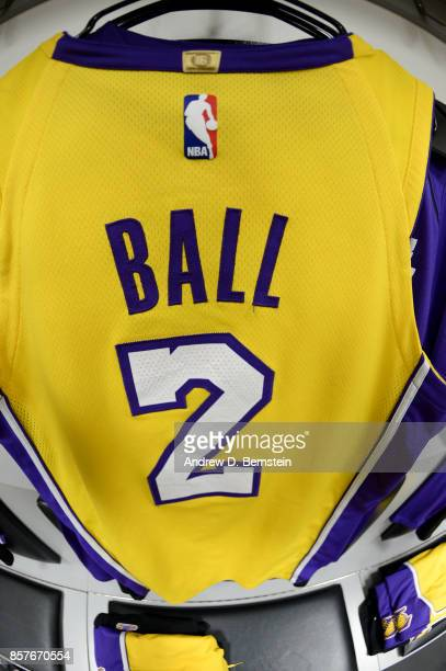 The jersey of Lonzo Ball of the Los Angeles Lakers before the game against the Denver Nuggets on October 4 2017 at Citizens Business Bank Arena in...
