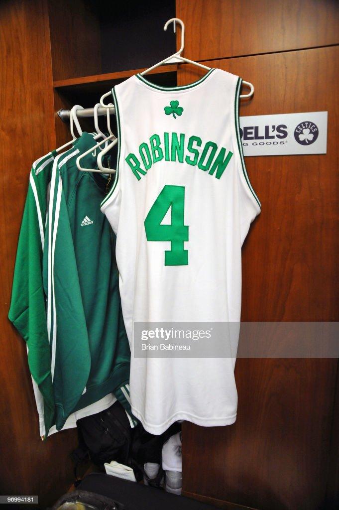 d7b59eaaa ... New York Knicks v Boston Celtics. The jersey of Nate Robinson 4 of the  Boston ...