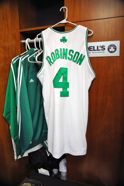 ... Green Embroidered NBA Jersey!21.50USD Cheap NBA Jerseys Pinterest NBA  The jersey of Nate Robinson 4 of the Boston Celtics hangs in his locker  before ... 9f5f4cb9e