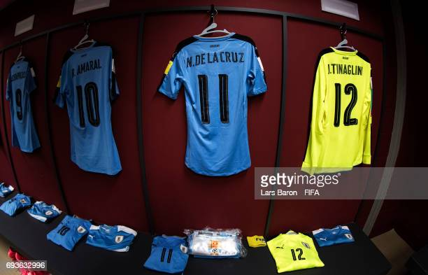 The jersey of Nicolas de la Cruz of Uruguay and his team mates are seen in the dressing room prior to the FIFA U20 World Cup Korea Republic 2017 Semi...