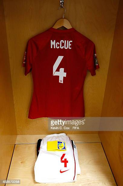 The jersey of Sherry McCue of England hangs in the locker room prior to the FIFA U20 Women's World Cup Canada 2014 Group C match between Nigeria and...
