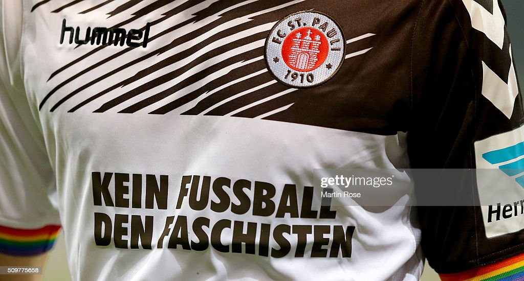 The jersey of St. Pauli is pictured during the second Bundesliga match between FC St. Pauli and RB Leipzig at Millerntor Stadium on February 12, 2016 in Hamburg, Germany.