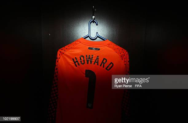The jersey of Tim Howard of the United States hangs in the dressing room prior to the 2010 FIFA World Cup South Africa Group C match between Slovenia...