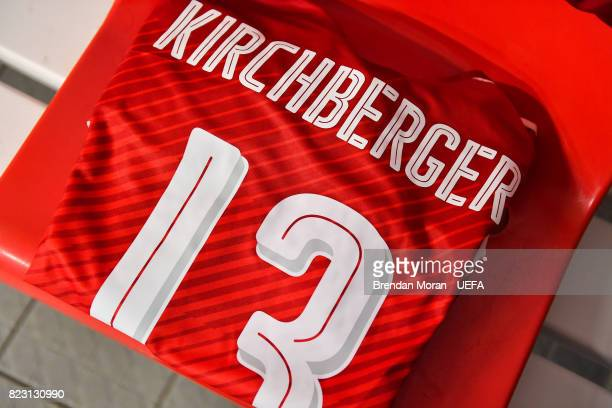 The jersey of Virginia Kirchberger in the Austria dressing room prior to the UEFA Women's EURO 2017 Group C match between Iceland and Austria at...