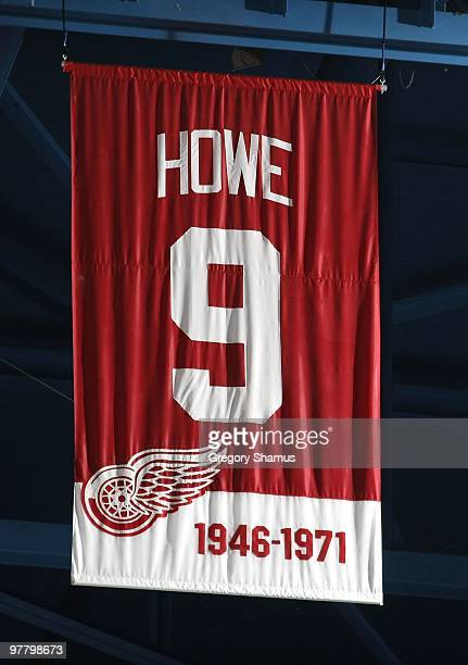 The jersey retirement banner for Gordie Howe of the Detroit Red Wings hangs in the rafters during a game against the Minnesota Wild on March 11 2010...