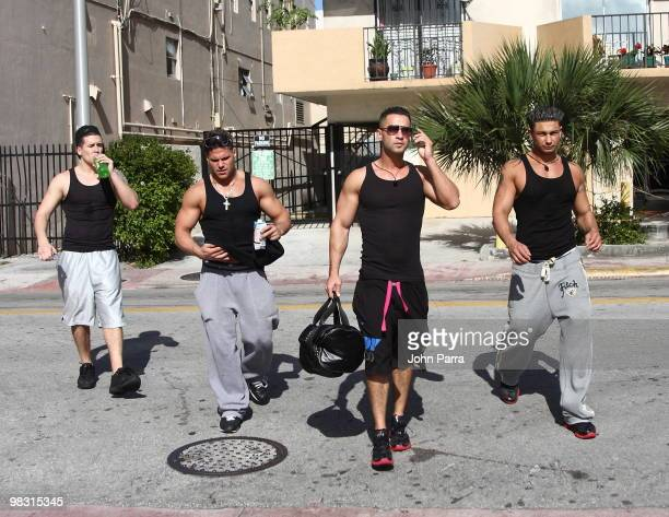 'The Jersey Shore' cast members Vinny Guadagnino Ronnie OrtizMagro Michael 'The Situation' Sorrentino and Paul 'Pauly D' DelVecchio are seen on April...