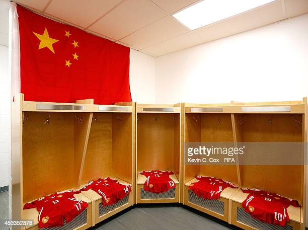 The jerseys of China PR lay in the locker room prior to their FIFA U20 Women's World Cup Canada 2014 Group B match against Germany at Commonwealth...