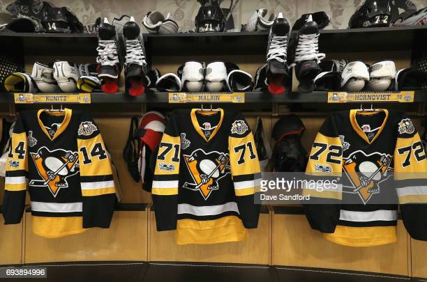 The jerseys of Chris Kunitz Evgeni Malkin and Patric Hornqvist of the Pittsburgh Penguins are seen hanging in the locker room before Game Five of the...