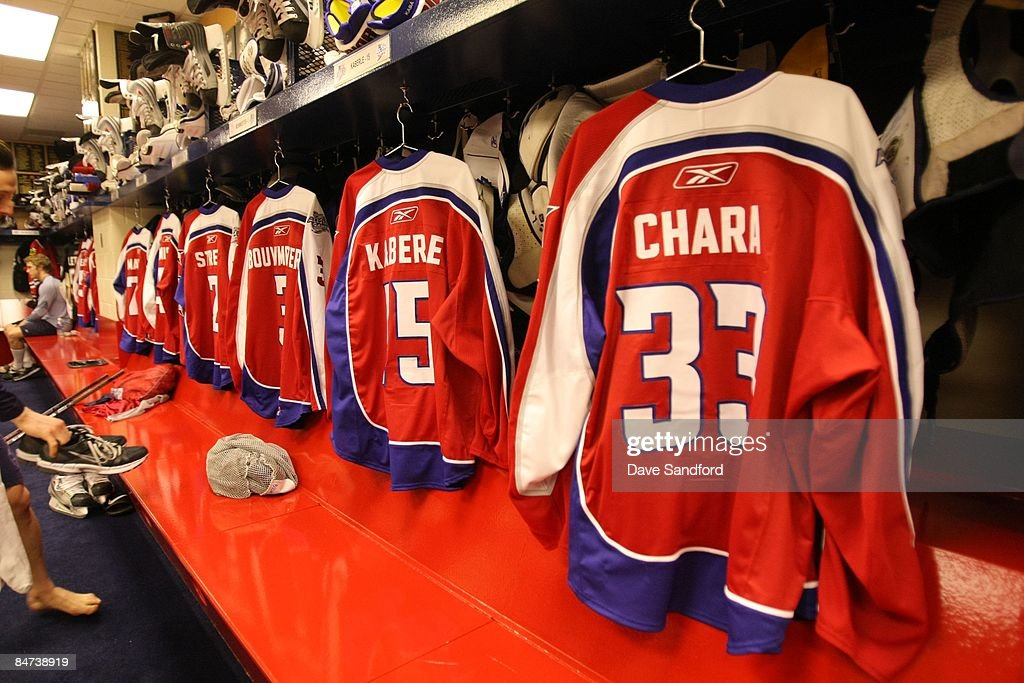 The jerseys of Eastern Conference All-Stars are shown in the locker room during the McDonalds/NHL All-Star open practice as part of the 2009 NHL All-Star weekend on January 24, 2009 at the Bell Centre in Montreal, Canada.