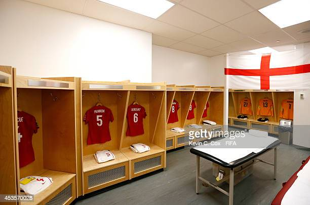 The jerseys of England hang in the locker room prior to the FIFA U20 Women's World Cup Canada 2014 Group C match between Nigeria and England at...