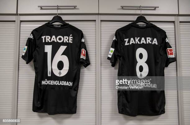 The Jerseys of Ibrahima Traore and Denis Zakaria at the dressing room ahead the Bundesliga match between Borussia Moenchengladbach and 1 FC Koeln at...