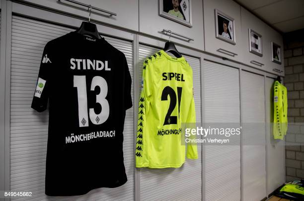 The jerseys of Lars Stindl and Tobias Sippel of Borussia Moenchengladbach in the changing room prior to the Bundesliga match between Borussia...