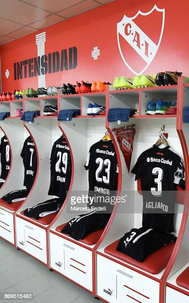 The jerseys of Nicolas Tagliafico Nery Dominguez Nicolas Domingo and Martin Benitez of Independiente are seen in the dressing room before a second...