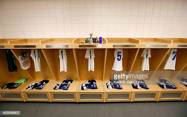 The jerseys of Paraguay hang in the locker room prior to the FIFA U20 Women's World Cup Canada 2014 Group D match between Paraguay and France at...