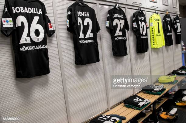 The Jerseys of Raul Bobadilla and Laszlo Benes at the dressing room ahead the Bundesliga match between Borussia Moenchengladbach and 1 FC Koeln at...