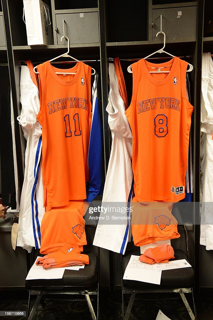 The jerseys of Ronnie Brewer #11 and J.R. Smith #8 of the New York Knicks hang in the locker room before their game against the Los Angeles Lakers at Staples Center on December 25, 2012 in Los Angeles, California.