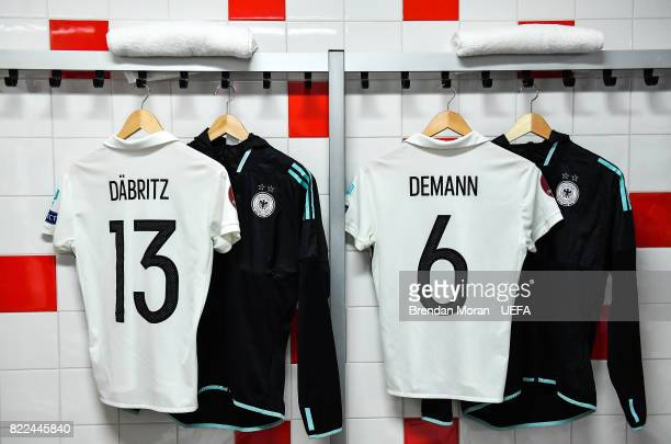 The jerseys of Sara Däbritz and Kristin Demann in the Germany dressing room prior to the UEFA Women's EURO 2017 Group B match between Russia and...