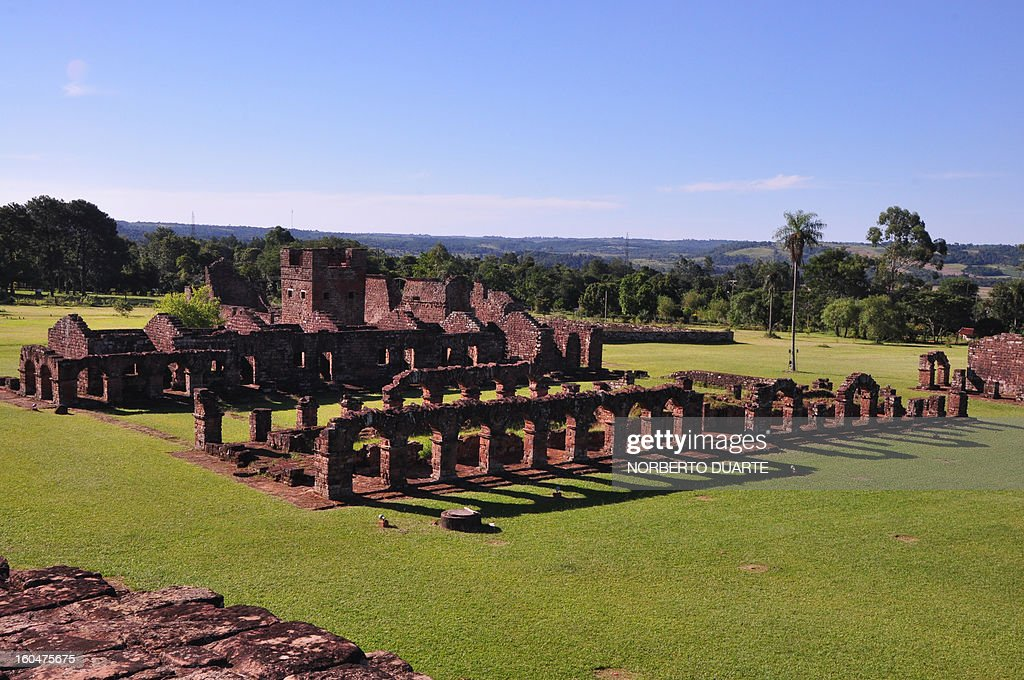 The Jesuitical ruins in Trinidad, Paraguay, on January 27, 2013. The finding of hexagonal tiles from the floor of a large Jesuitical temple built by Guarani indians in the XVII century, rekindled an ambicious project of rediscovering the ruins of the paradise lost when the Jesuits were expelled from the country in 1767.