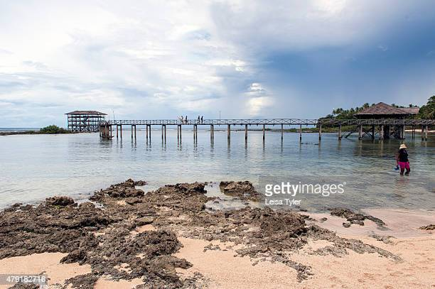 The jetty at Cloud 9 a reef break fuelled by the Philippine Trench in the Pacific Ocean on the island of Siargao in the far eastern reaches of the...