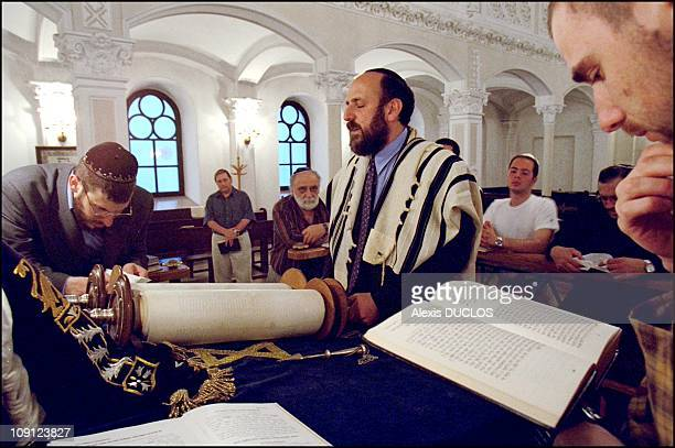 The Jewish Community In Warsaw On January 7Th Poland Rabbi Reading From The Torah At The Warsaw Synagogue