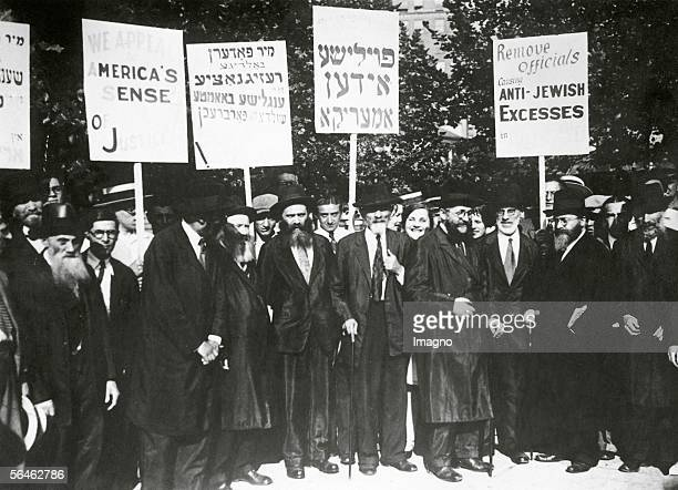 The Jewish population of New York is protesting against the English politics in Palestine and the behaviour of leading functionaries during the...