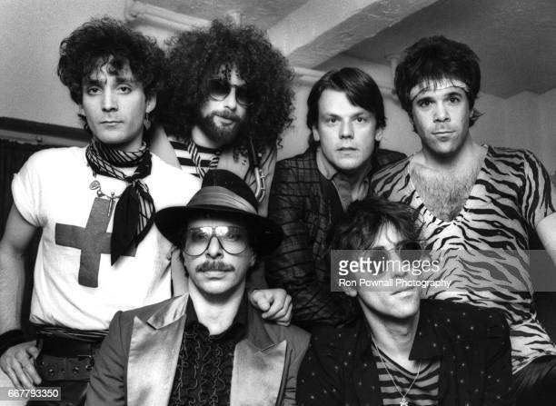 The JGeils Band Seth Justman Danny Klein Magic Dick JGeils Peter Wolf and Stephen Bladd poses backstage at the EM Lowes Theater on December 4 1981 in...
