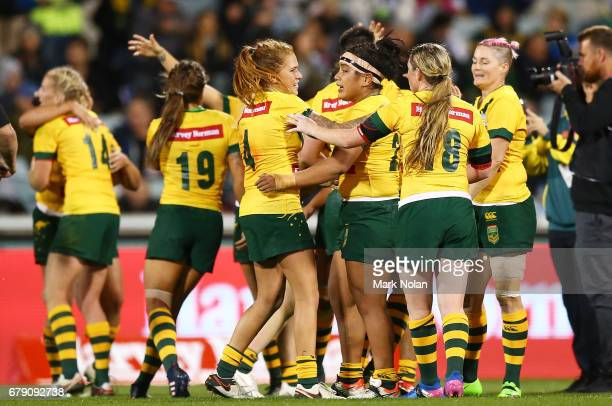 The Jillaroos celebrate after winning the women's ANZAC Test match between the Australian Jillaroos and the New Zealand Kiwi Ferns at GIO Stadium on...