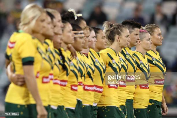 The Jillaroos line up against the New Zealand haka during the women's ANZAC Test match between the Australian Jillaroos and the New Zealand Kiwi...