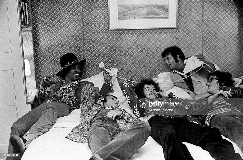 The Jimi Hendrix Experience LR Jimi Hendrix Mitch Mitchell Noel Redding with DJ Emperor Rosko and Robin Russell Marquess of Tavistock at Woburn Abbey...