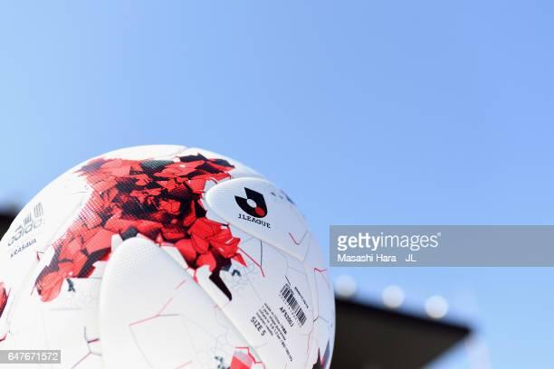 The JLeague matchball is seen prior to the JLeague J1 match between Ventforet Kofu and Kashima Antlers at Yamanashi Chuo Bank Stadium Stadium on...
