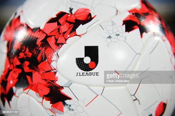 The JLeague matchball is seen prior to the JLeague Levain Cup Group A match between Kashiwa Reysol and Shimizu Spulse at Hitachi Kashiwa Soccer...