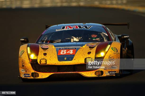 The JMW Motorsport Ferrari 488 of Robert Smith Will Stevens and Dries Vanthoor drives on its way to GTE AM class victory during the Le Mans 24 Hours...