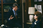 TIES 'The Job Not Taken' Episode 12 Pictured Michael J Fox as Alex P Keaton Christine Jansen as Jessica Foster Photo by NBC/NBCU Photo Bank