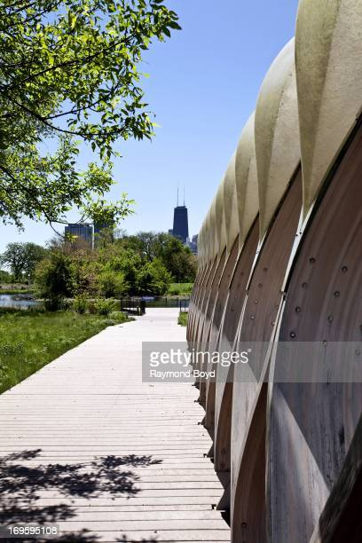 The John Hancock Center as photographed from the Lincoln Park Zoo Nature Boardwalk in Chicago Illinois on MAY 24 2013