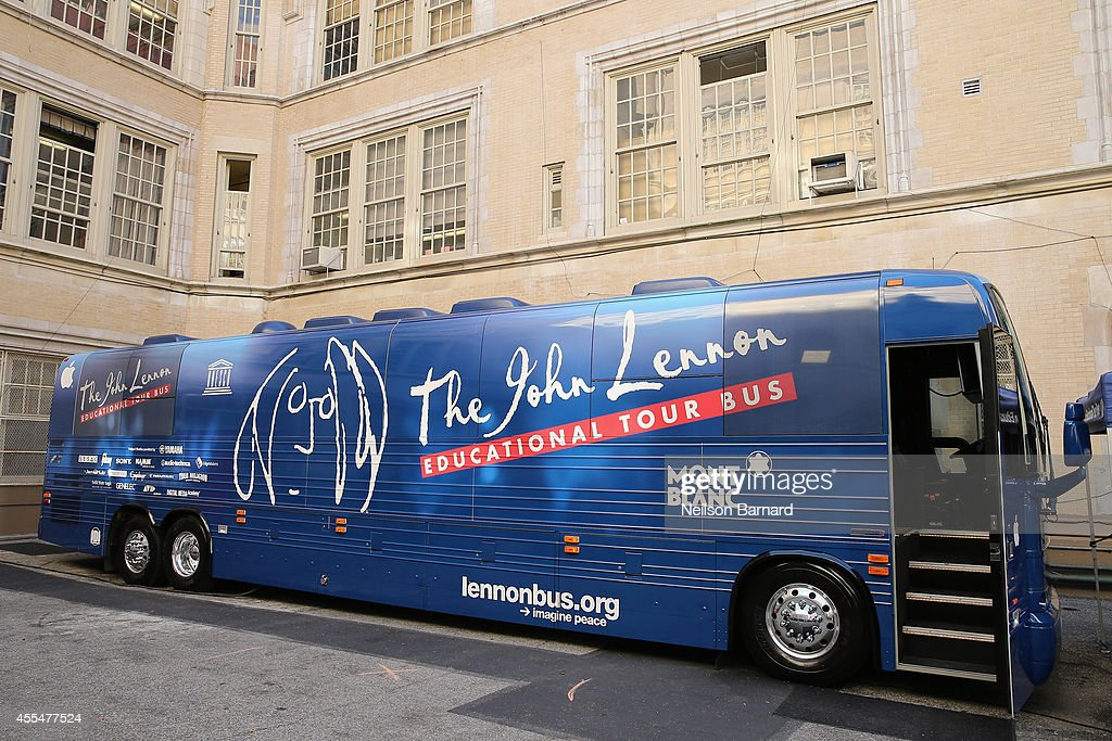 The John Lennon Educational Tour Bus on display at P.S. 171 Patrick Henry School on September 15, 2014 in New York City.