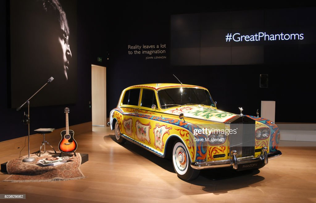 The John Lennon Rolls-Royce Phantom is displayed at the world premiere of the 'The Great Eight Phantoms - A Rolls-Royce Exhibition' at Bonhams on July 27, 2017 in London, England.