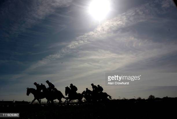 The John Smith's Mersey Novices' Hurdle Race begins at Aintree racecourse on April 09 2011 in Liverpool England