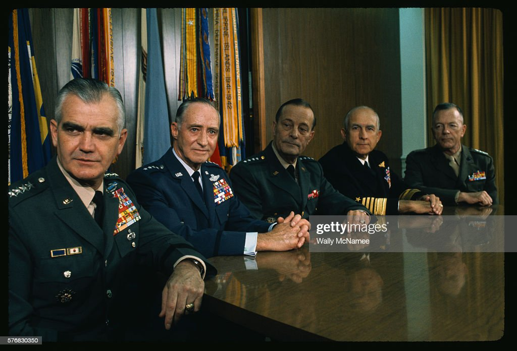 The Joint Chiefs of Staff in November 1968 from left General William C Westmoreland US Army General John P McConnell US Air Force Chairman General...