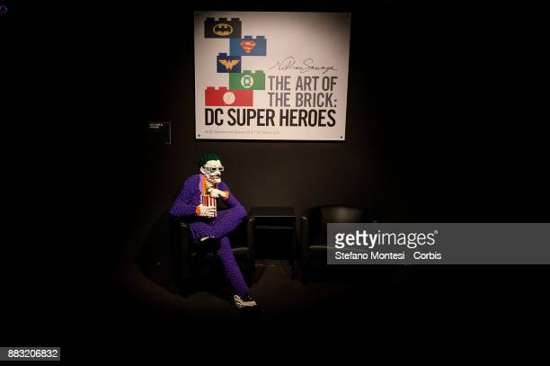 The Joker entirely made of Lego bricks is seen during the 'The Art of the Brick DC Super Heroes' Exhibition at the Palace of Exams on November 30...